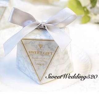 訂製 鑽石形 雲石 大理石 圖案 回禮喜糖盒 小盒子 禮物盒 Wedding gift box 婚禮用品 婚宴