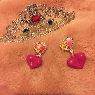兒童公主皇冠髮圈/夾式耳環💕