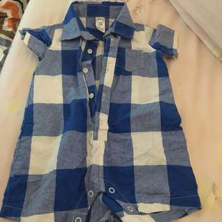 Almost New carters checkered romper (12m)