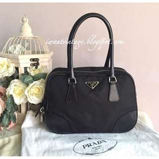 Prada Nylon Top Handle Bag-Black