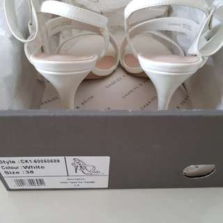 Charles and Keith white heels with ribbon