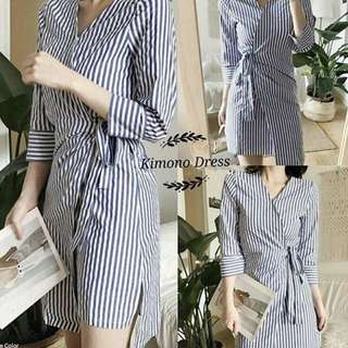 Stripes Kimono Dress in Gray