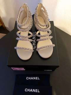 Chanel chain link sandals size 40