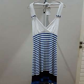 Open Back Summer Blue and White Dress