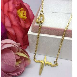 Authentic Bangkok Gold 10k Saudi Gold Heartbeat Centered Chain Necklace Non Tarnish (Not Pawnable)