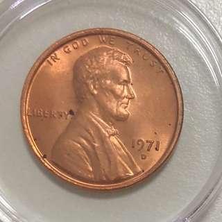 1971 D 林肯總統銅幣