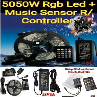 5050 Waterproof 5M RGB 300Leds 12V Led Strip Lights + Music Sensor Remote Controller  (Optional 12V Adapter or Rechargeable battery )  Mobile No. 92325050