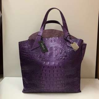 FURLA Croc Embossed Leather 'jucca' Shopper Tote