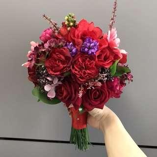 紅色絲花花球 結婚物品 婚後物資 新娘花球