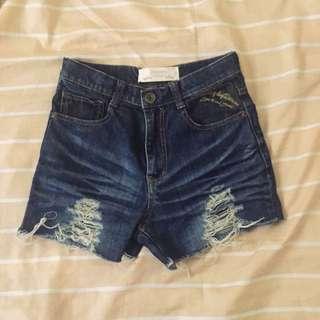 Maong HW shorts