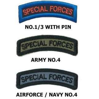 Special Forces No. 3 (TOP), Special Forces No.4 Army (MIDDLE), Special Forces No.4 Navy or Airforce (BOTTOM)