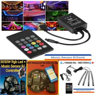 5050 Waterproof 5M RGB 300Leds 12V Led Strip Lights + Music Sensor Remote Controller  (Optional 12V Adapter or Rechargeable battery )