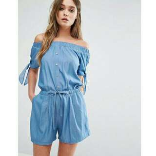 Denim off shoulder jumpshort