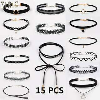 PREORDER! ZIRIS 15 Pcs/pack Choker Necklace Black gold lace Leather Velvet strip bohemian woman Collar Party Jewelry Neck accessories chokers