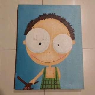 Lukisan Kanvas Karton Lucu