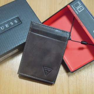 AUTHENTIC Guess men's wallet leather card holder case money clip magnetic marble dark brown