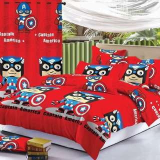 Premium Character Bed Sheet 4 in 1 Set (Capt. America K6)
