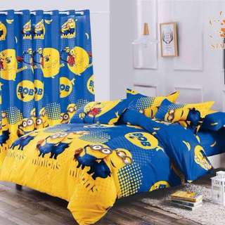 Premium Character Bed Sheet 4 in 1 Set (Minions K7)