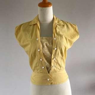 VTG 40s/50s Yellow Polka Dot Blouse