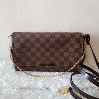 Authentic Louis Vuitton Favorite Damier Ebene MM Sling Crossbody Bag
