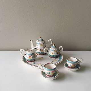 A set of 10pc Porcelain Miniature Tea Service