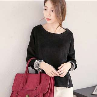 Korean style Loose-fit Pullover Sweater/Top (Black) \winter\autumn