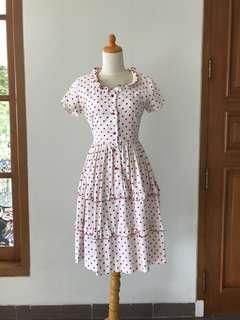 VTG 1950s Polka Dot Red White dress with Ruffles. XS -S
