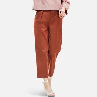 Uniqlo Cotton High Waisted Wide Leg Tapered Ankle Pants