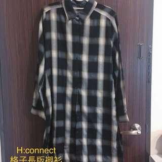 ✨H:connect 格子長版襯衫 可當外套、洋裝