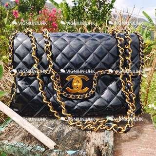 (Sold)Chanel vintage 極品黑金鏈條jumbo