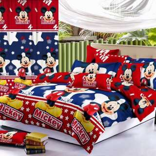 Premium Character Bed Sheet 4 in 1 Set (Mickey Mouse C8) 5D