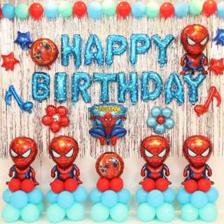 PRE-ORDER Birthday Balloon Set with backdrop - Spiderman