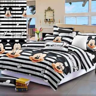 Premium Character Bed Sheet 4 in 1 Set (Mickey Mouse C2) 5D