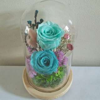 Blue eternal rose in glass jar with light