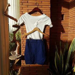 Preloved from college White off shoulder top and bandage skirt