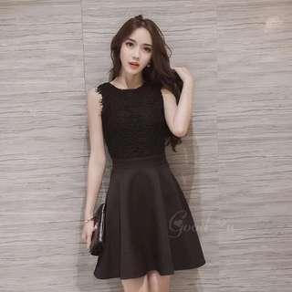 韓版背心蕾絲連身裙(黑色、灰色)