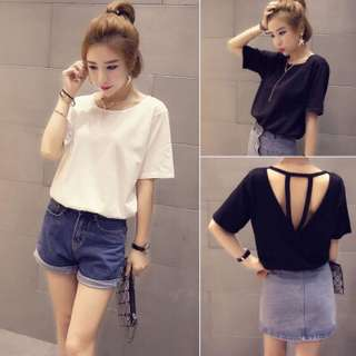 Backless Top shirt blouse tshirt tee; casual young youth teenager; Korean kpop kwave jpop trendy fashionable wave; woman women girl lady ladies female;