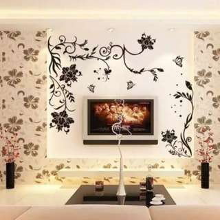 Black vines butterfly flower minimalist wall sticker bedroom living room dining room sofa TV backdrop decorative sticker Home decor