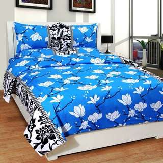 140 TC PolyCotton Floral Printed Double Bed Sheet with 2 Pillow Cover - MultiColor 1 Bedsheet and 2 Pillow Covers