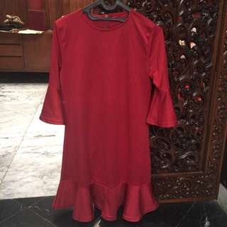REPRICE! Red Bell-Sleeve Dress