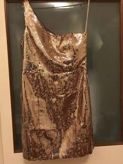 F21 Gold Toga Sequin Evening Dress