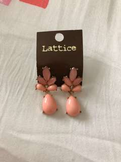 Peach dangling earring