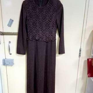 純棉紫啡長裙