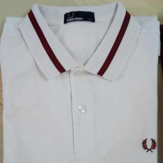 Fred Perry Polo Single Tipped M2 Pique in White/Marroon