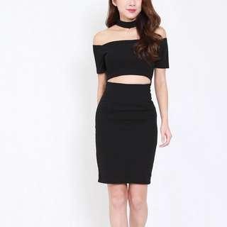 Choker Cutout Midi Bodycon Dress (Black)