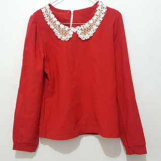 Top long red fit body
