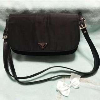Prada Tessuto Nylon Flap Clutch Shoulder Sling Bag
