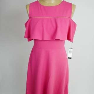 Women's Scuba Crepe Cold Shoulder Fit N Flare Dress
