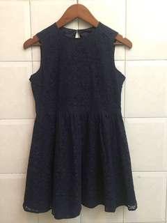 Lace navy mini dress