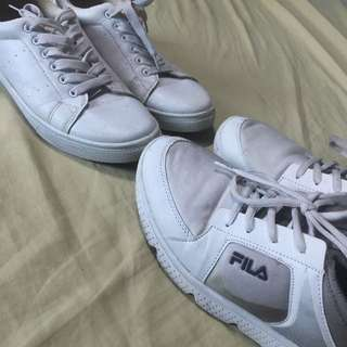 AUTHENTIC FILA WHITE & GRAY OMBRÉ SHOES 💯❤️ + FREE PLAIN WHITE SHOES FOR SURE BUYER (Size 40)